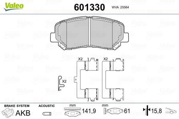 Kit de plaquettes de frein, frein à disque VALEO 601330 (Jeu de 4)