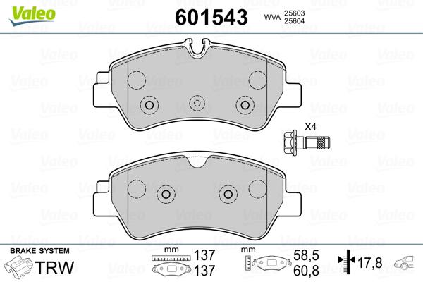 Kit de plaquettes de frein, frein à disque VALEO 601543 (Jeu de 4)