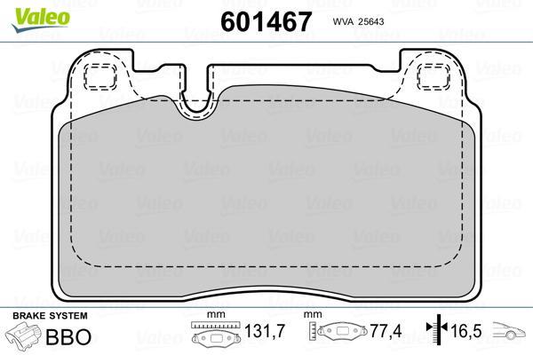 Plaquettes de frein avant VALEO 601467 (Jeu de 4)
