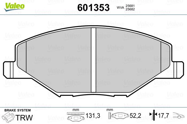 Plaquettes de frein avant VALEO 601353 (Jeu de 4)