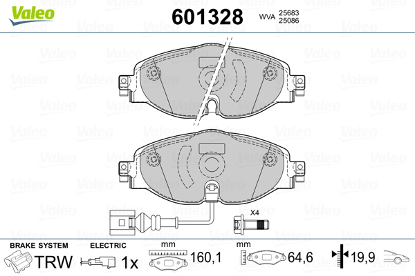 Plaquettes de frein avant VALEO 601328 (Jeu de 4)