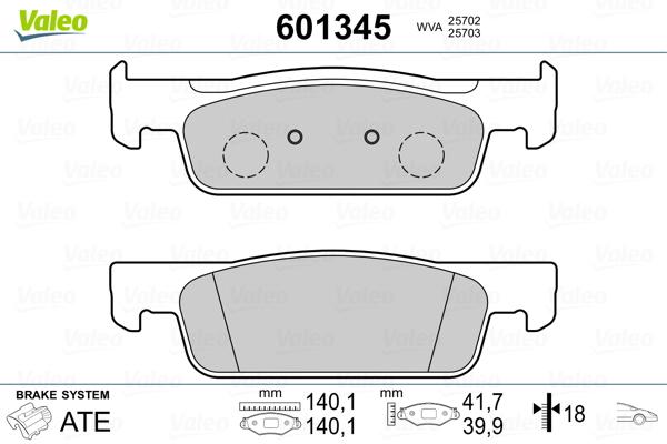 Plaquettes de frein avant VALEO 601345 (Jeu de 4)