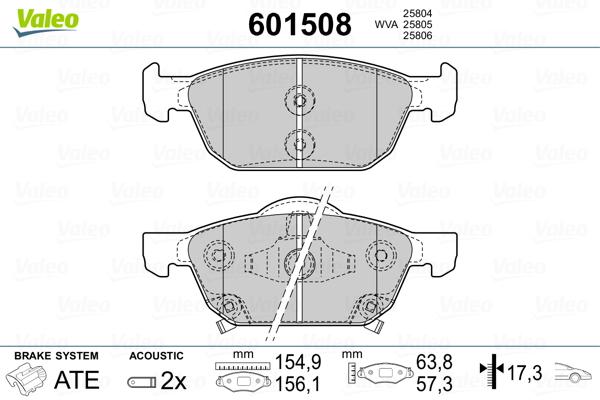 Plaquettes de frein avant VALEO 601508 (Jeu de 4)