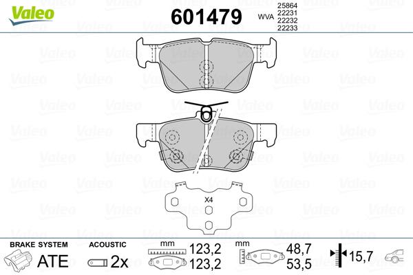 Kit de plaquettes de frein, frein à disque VALEO 601479 (Jeu de 4)