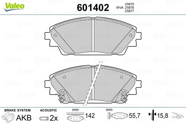 Plaquettes de frein avant VALEO 601402 (Jeu de 4)