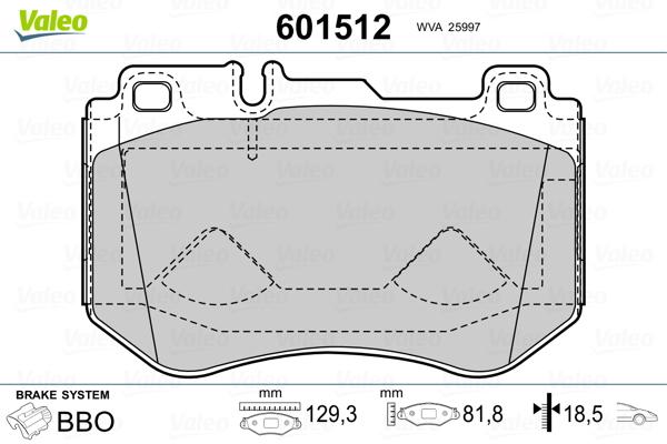 Kit de plaquettes de frein, frein à disque VALEO 601512 (Jeu de 4)