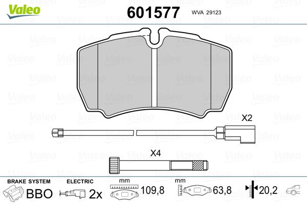 Kit de plaquettes de frein, frein à disque VALEO 601577 (Jeu de 4)