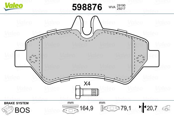 Kit de plaquettes de frein, frein à disque VALEO 598876 (Jeu de 4)