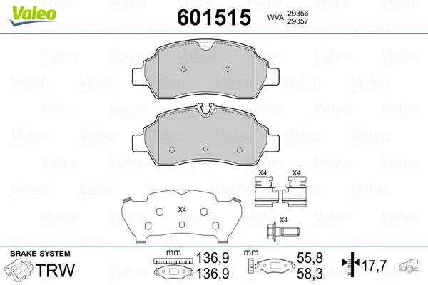Kit de plaquettes de frein, frein à disque VALEO 601515 (Jeu de 4)