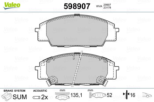 Plaquettes de frein avant VALEO 598907 (Jeu de 4)