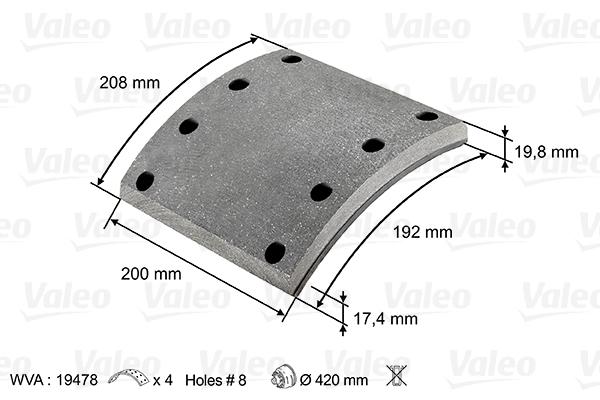 Kit de garnitures de frein (machoires)pour frein à tambour VALEO 219802 (X1)