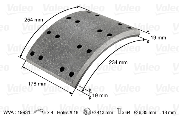 Kit de garnitures de frein (machoires)pour frein à tambour VALEO 124027 (X1)