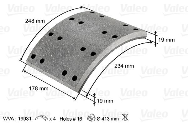 Kit de garnitures de frein (machoires)pour frein à tambour VALEO 219801 (X1)