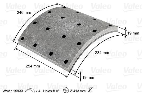 Kit de garnitures de frein (machoires)pour frein à tambour VALEO 219933 (X1)