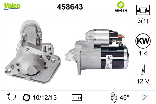 Demarreur VALEO 458643 (X1)