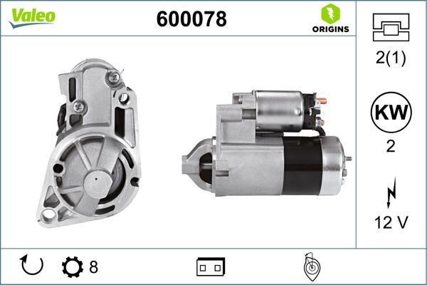 Demarreur VALEO 600078 (X1)