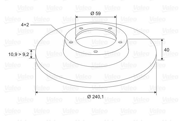 Disque de frein VALEO 186155 (Jeu de 2)
