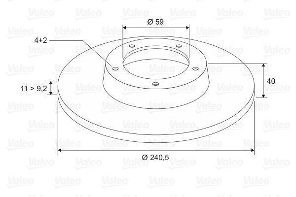 Disque de frein VALEO 186406 (Jeu de 2)