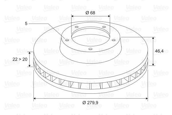 Disque de frein VALEO 186582 (Jeu de 2)