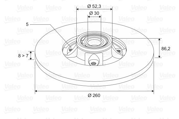Disque de frein VALEO 197453 (X1)