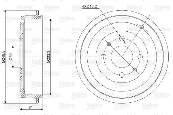 Tambour de frein arriere VALEO 237021 (X1)
