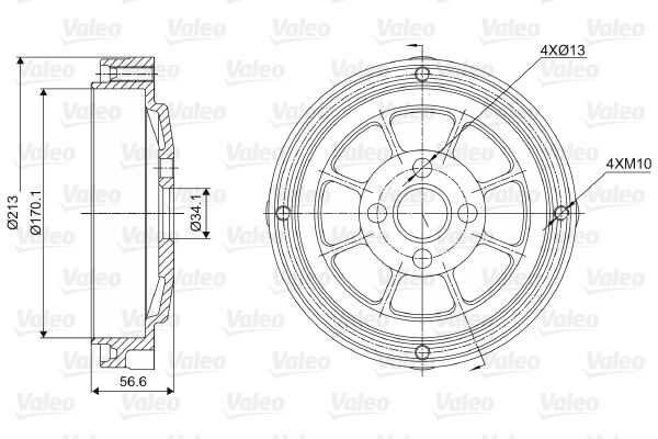 Tambour de frein arriere VALEO 237022 (X1)