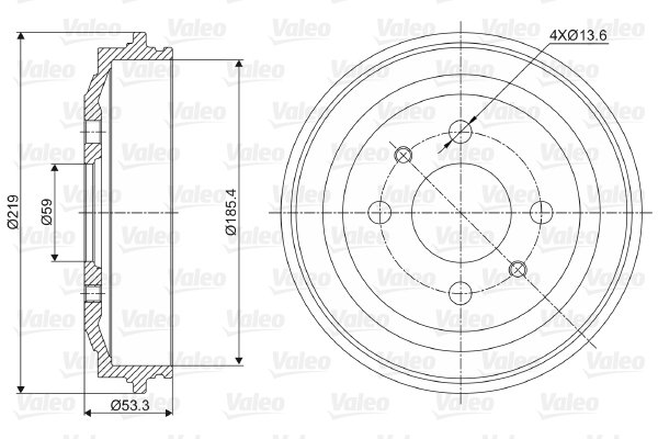 Tambour de frein arriere VALEO 237024 (X1)