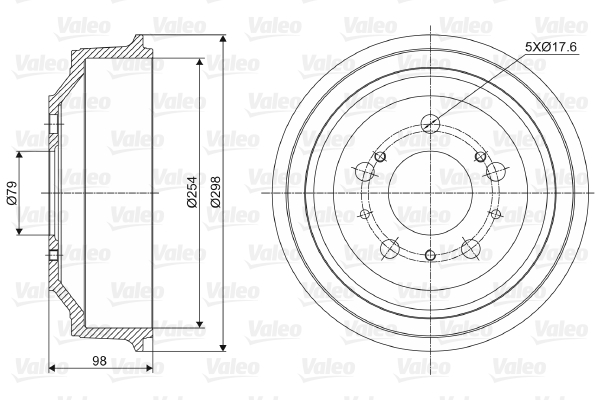 Tambour de frein arriere VALEO 237028 (X1)