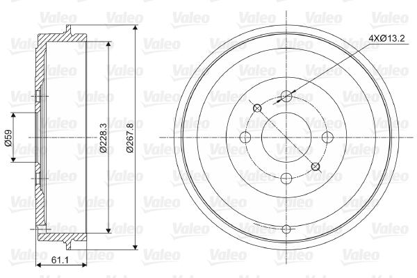Tambour de frein arriere VALEO 237036 (X1)
