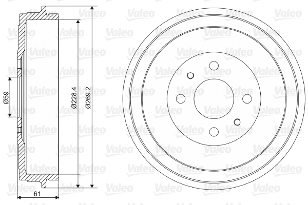 Tambour de frein arriere VALEO 237037 (X1)