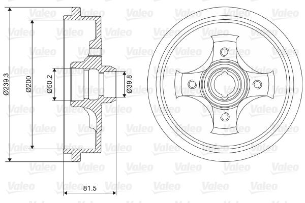 Tambour de frein arriere VALEO 237049 (X1)