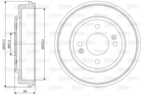 Tambour de frein arriere VALEO 237051 (X1)
