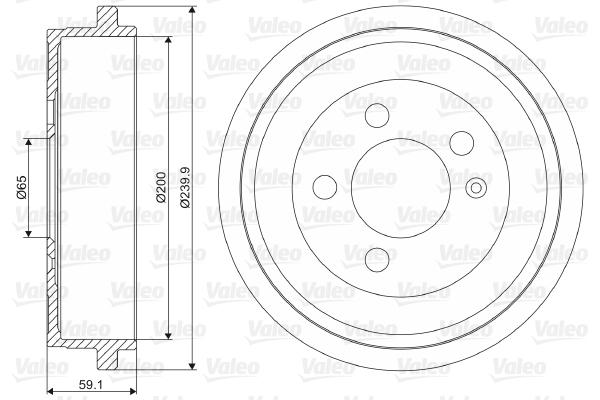 Tambour de frein arriere VALEO 237099 (X1)