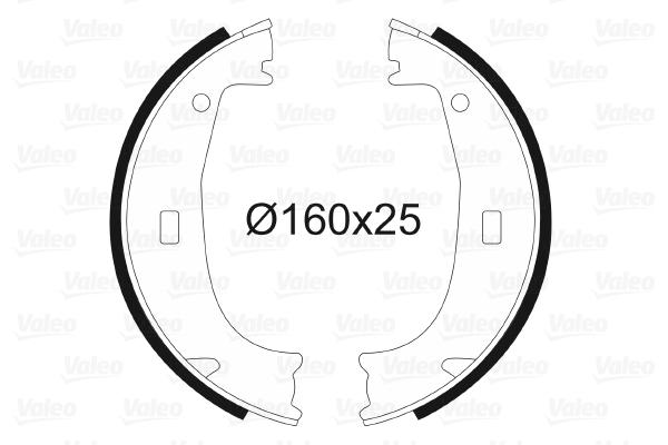 Jeu de mâchoires de frein de frein à main VALEO 562725 (X1)