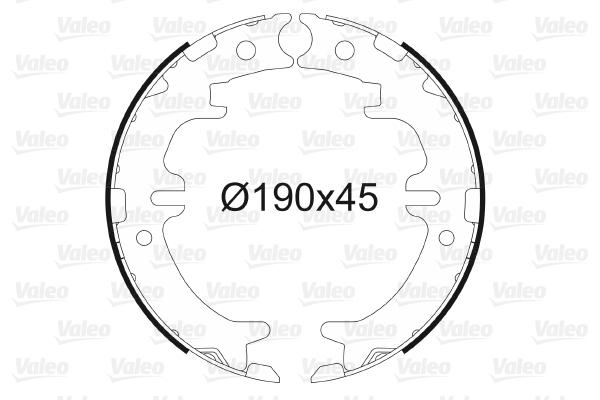Jeu de mâchoires de frein de frein à main VALEO 564015 (X1)