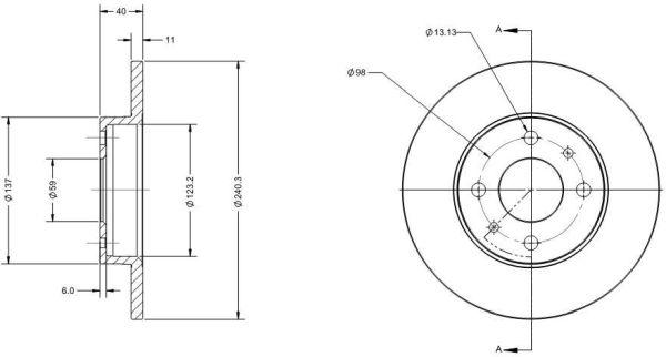 Disque de frein DELCO REMY RAD1010C (X1)