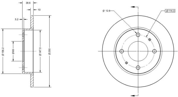 Disque de frein arriere DELCO REMY RAD1332C (X1)