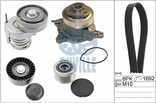 Pompe à eau + jeu de courroie d'accessoires RUVILLE 55778801 (X1)