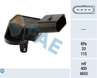 Capteur, pression du tuyau d'admission FAE 15033 (X1)