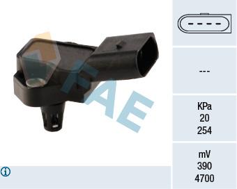 Capteur, pression du tuyau d'admission FAE 15037 (X1)