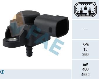 Capteur, pression du tuyau d'admission FAE 15074 (X1)