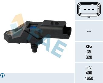 Capteur, pression du tuyau d'admission FAE 15108 (X1)