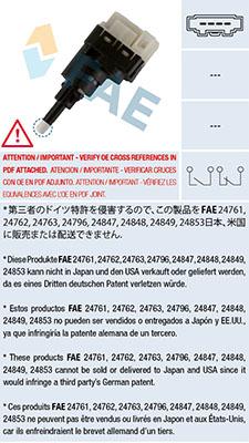 Contacteur de feu stop FAE 24761 (X1)