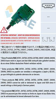 Contacteur de feu stop FAE 24762 (X1)