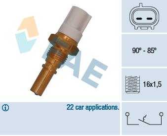 Interrupteur de temperature, ventilateur de radiateur FAE 36545 (X1)