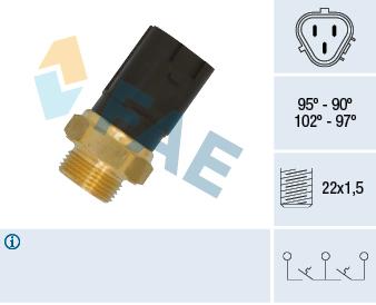Interrupteur de temperature, ventilateur de radiateur FAE 38185 (X1)