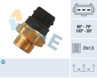 Interrupteur de temperature, ventilateur de radiateur FAE 38250 (X1)