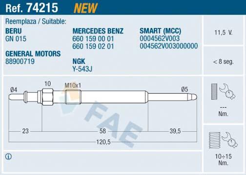 Bougie de prechauffage FAE 74215 (X1)