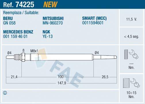 Bougie de prechauffage FAE 74225 (X1)