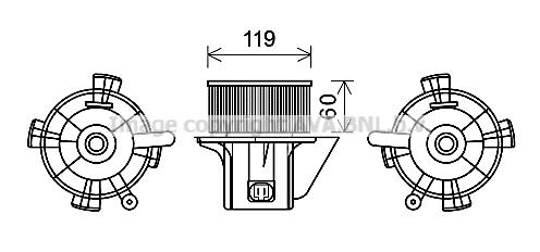 Moteur de ventilateur de chauffage AVA QUALITY COOLING CN8299 (X1)
